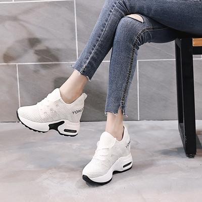 内增高女鞋夏季2018新款百搭透气小白鞋女休闲运动鞋轻便舒适单鞋