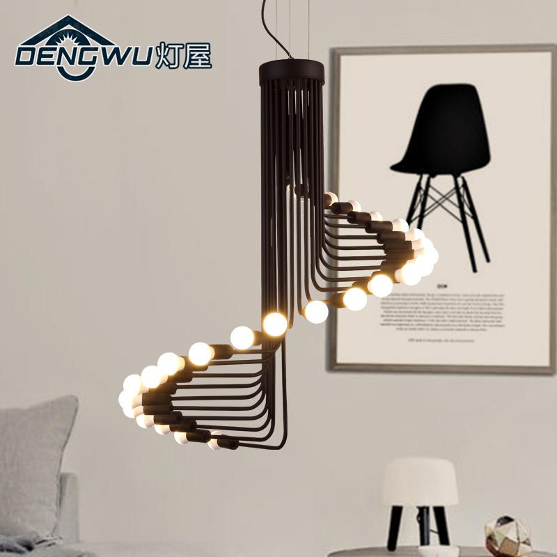 灯屋现代简约艺术吊灯榉木楼梯