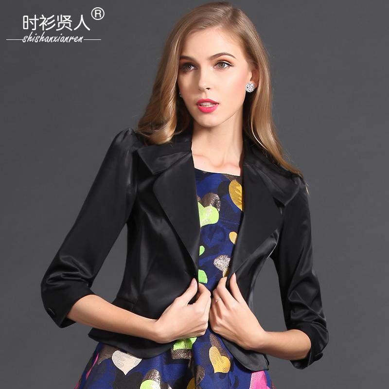 秋季女士小西装女外套韩版短款百搭气质淑女黑色小香风七分袖外套