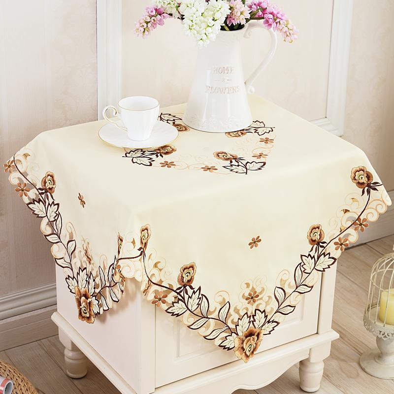 一朵欧式雕绣绣花床头柜盖布