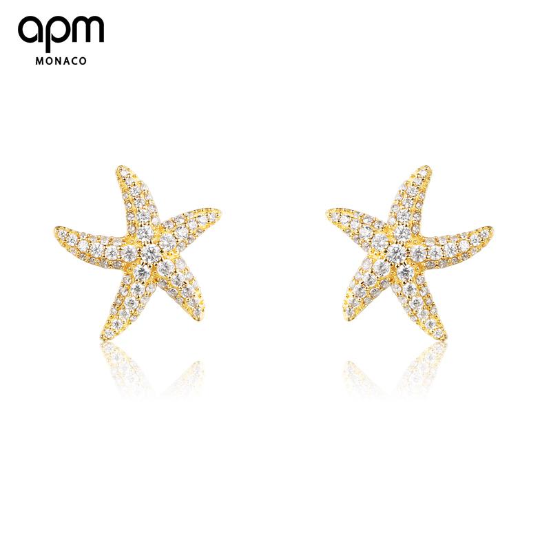 APM Monaco金黄色银镶晶钻海星耳钉女 简约迷你创意个性耳饰