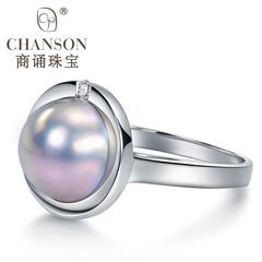 商诵梦幻灰色半圆形日本海水玛贝 马贝珍珠戒指女18K金镶天然钻石