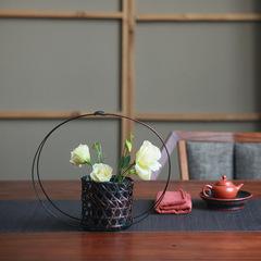 日式复古 圆形竹编花器 竹子插花器 花篮 花道摆件 家居装饰