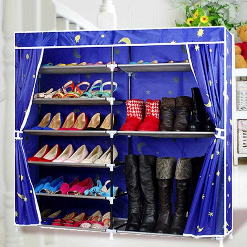 开迪大号牛津布双排简易鞋架