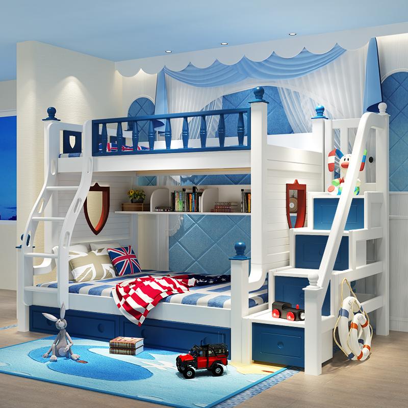 davidbenz实木儿童双层床子母床T09#蓝白色