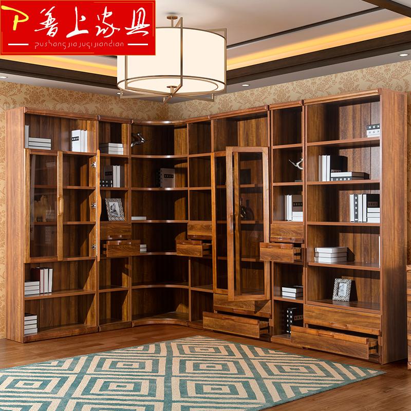 普上简约实木书柜TQ-Y1802转角书柜