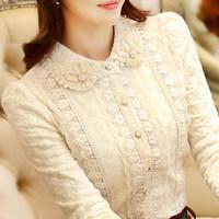 加绒加厚蕾丝衫2016秋冬新款韩版女装上衣修身娃娃领长袖女打底衫