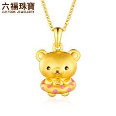 六福珠宝足金轻松小熊系列小白熊黄金珐琅吊坠定价L01A170043