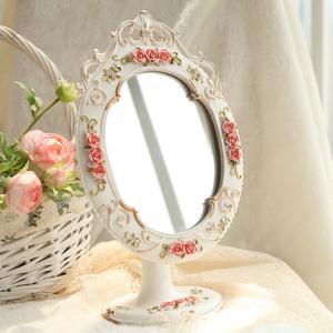 时尚欧式创意化妆镜 可调节角度大号家居台式镜子公主美容院镜