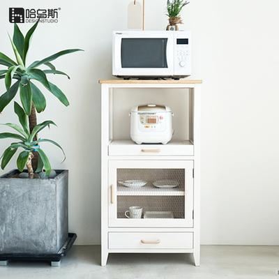 哈乌斯 微波炉柜子白色实木厨房储物柜碗柜餐边柜烤箱柜子置物柜