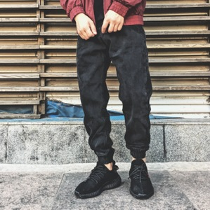 Autumn and Winter Street Japanese Fashion Retro-European and American Fashion Make Old Grey and Black Bottom Jeans Chao Men's Hallen Closure Pants