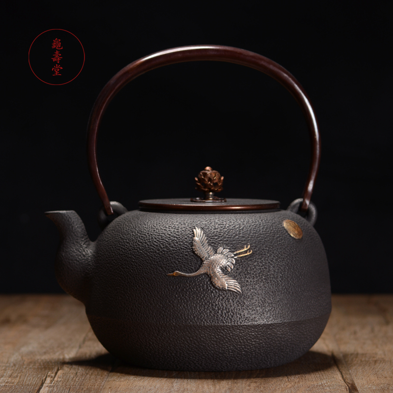 铁壶 龟寿堂日本手工l鎏金银飞雁无涂层铸铁壶 老铁壶烧水铁茶壶
