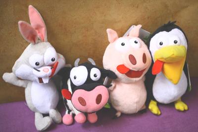正版法国呆萌表情奶牛兔子猪猪企鹅农场动物毛绒玩具公仔生日礼物图片