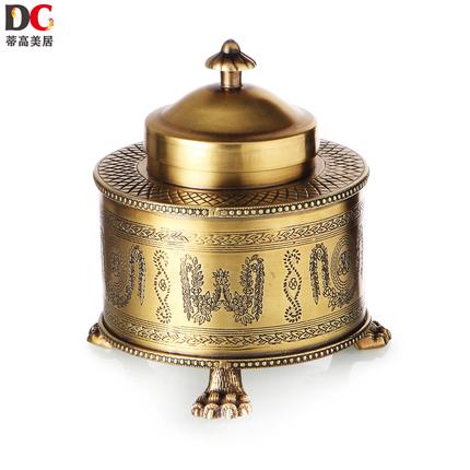 蒂高美居 欧式软装古典高档铜储物罐卧室装饰工艺品创意全铜盖盒