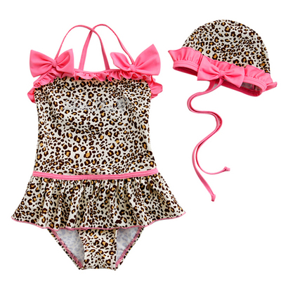 Leopard Princess Swimsuit Children's Swimsuit Girls Siamese Swimsuit Baby Baby Swimwear 0 to 10 Years Old