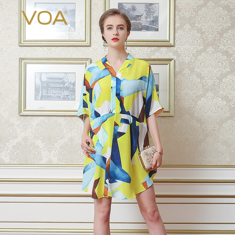 VOA 黄棕蓝亮色块真丝汉服领五分袖直口袋四片拼接O型蝙蝠衫B7033