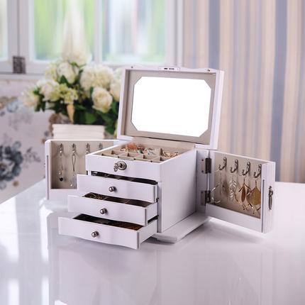 箫佳全锁首饰盒木质带锁欧式公主韩国大容量首饰收纳盒实木饰品盒