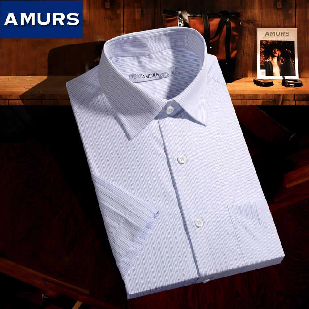 Amurs-爱缪斯商务正装男士短袖衬衫 进口宽松大码条纹薄衬衣