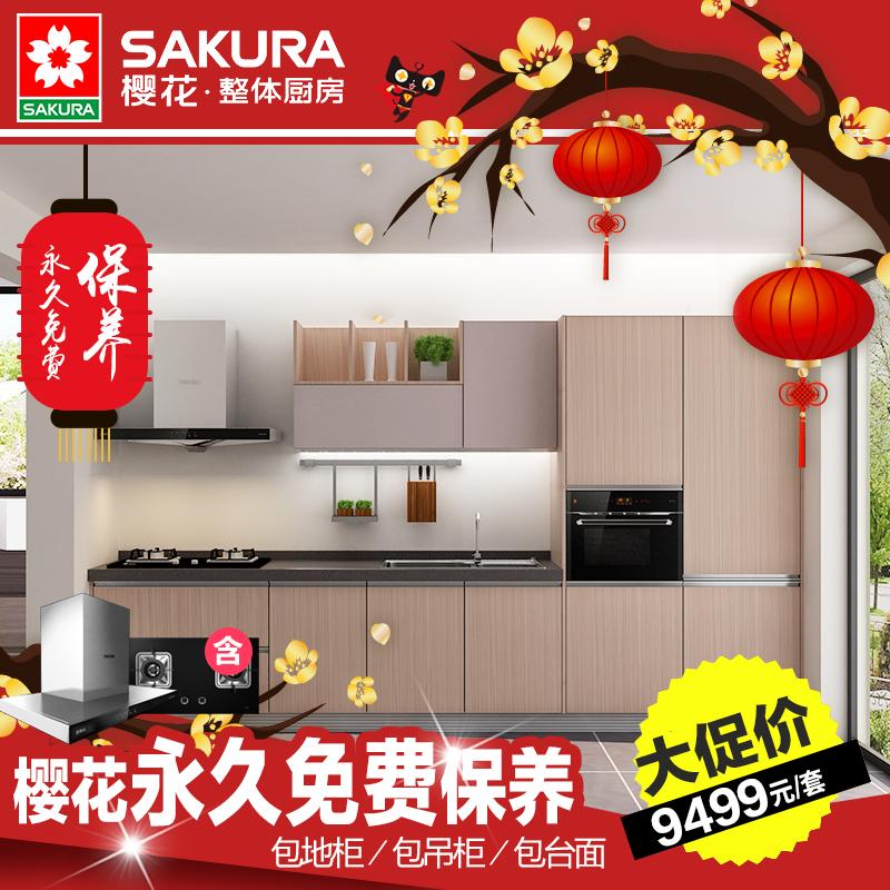 sakura/樱花现代厨柜卡迪夫+烟灶