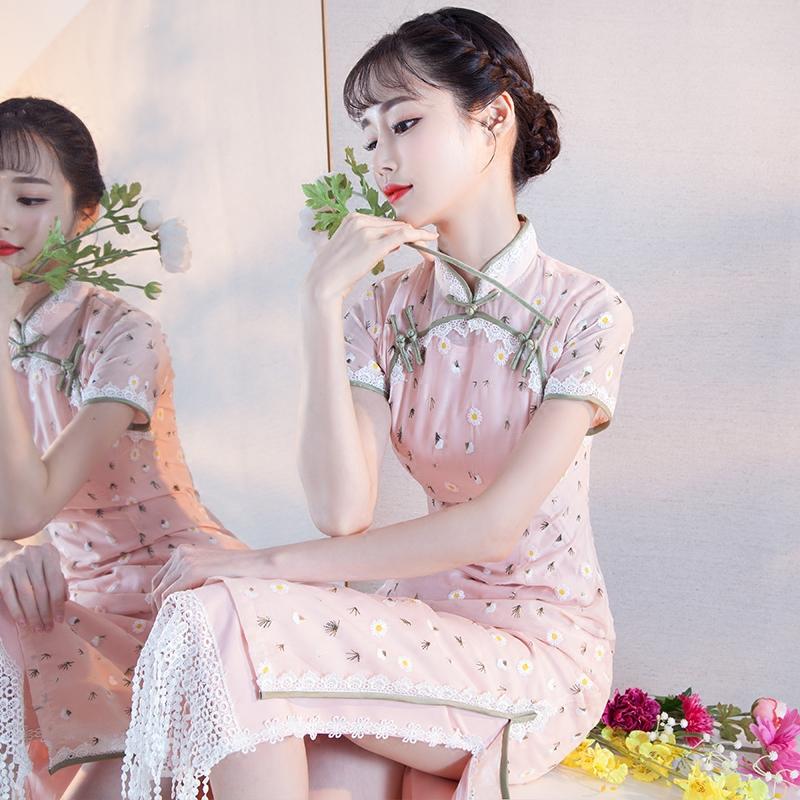 旗袍夏季2018新款少女民国名媛学生改良长款文艺复古中国风连衣裙