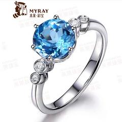 米莱珠宝 2.52克拉无瑕天然托帕石戒指18K金镶嵌钻石 彩色宝石