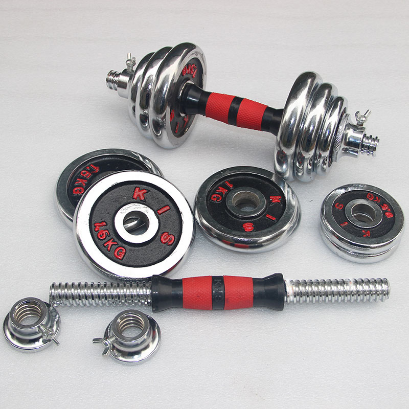 哑铃男士电镀套装健身器材微信五元红包群规则锻炼20公斤调节杠铃亚玲两用练臂肌