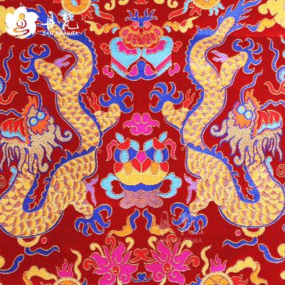 丹梵 西藏藏式龙布料 绸缎 贡缎 织锦缎双龙八宝龙袍布料散剪批发图片