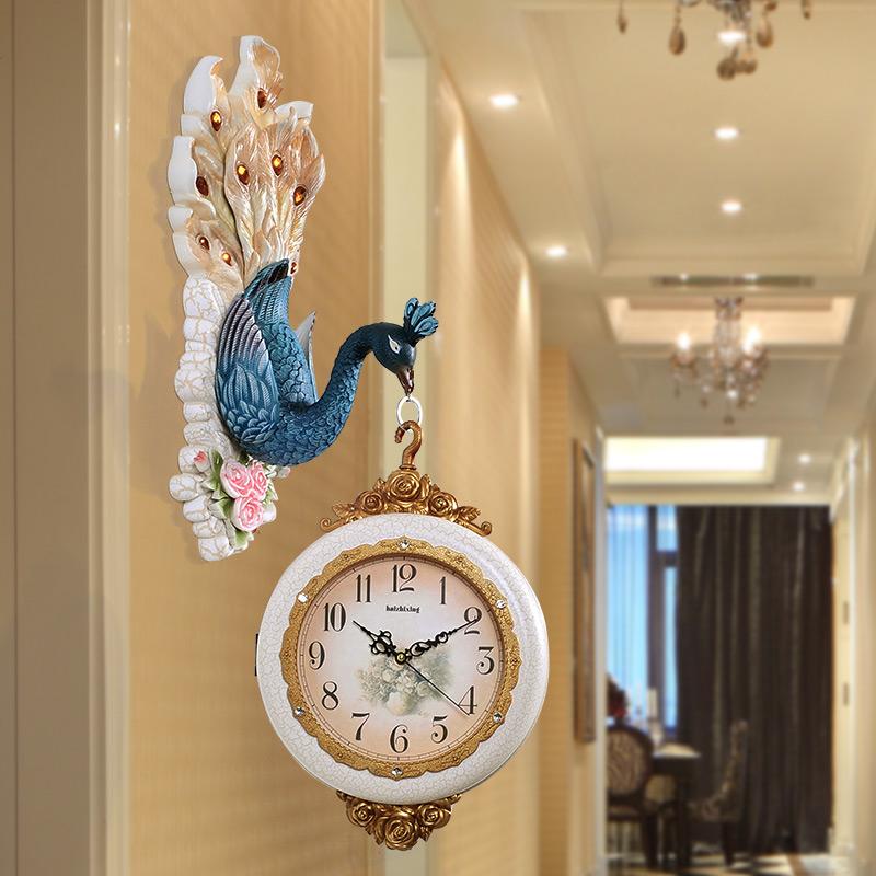 英伦欧堡欧式孔雀装饰壁挂双面钟5268