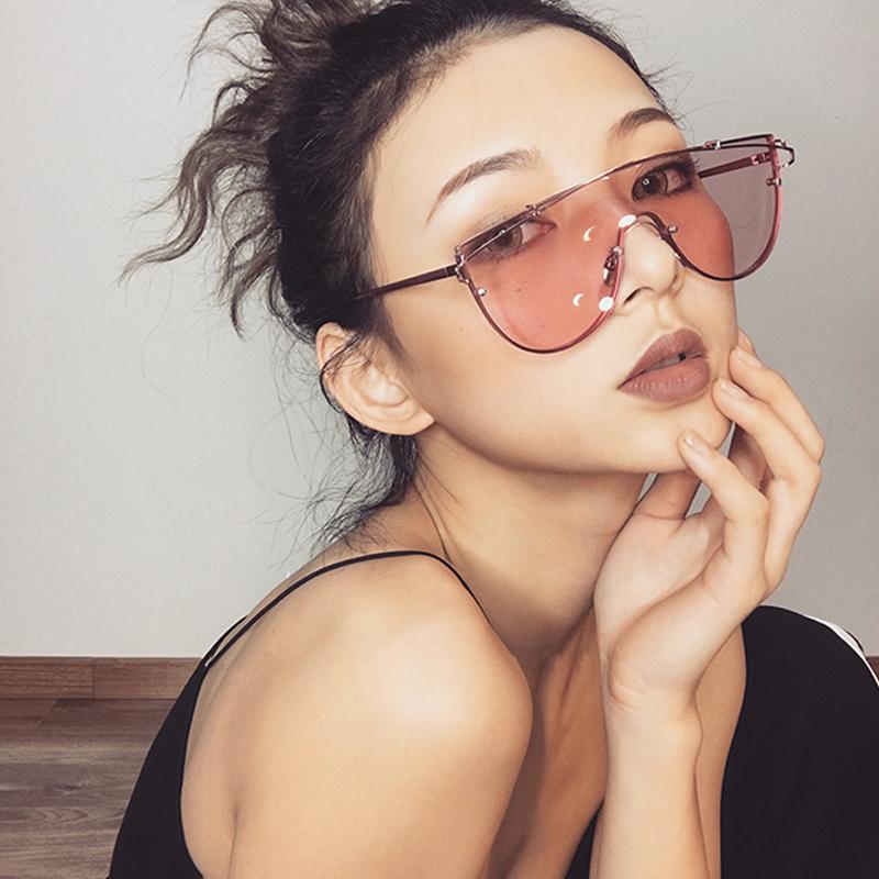 韩版潮原宿透明粉色女墨镜街拍2018彩色太阳镜女抖音ins眼镜网红