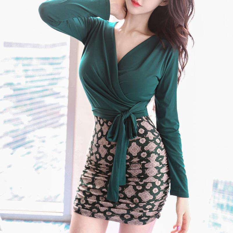 秋装连衣裙长袖修身包臀裙气质拼接名媛紧身性感女装短裙打底裙