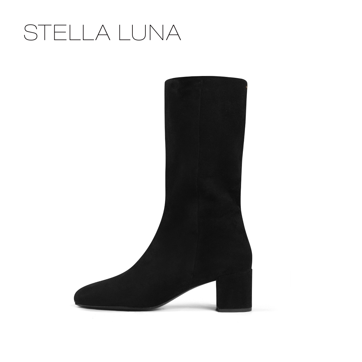 STELLA LUNA冬季时尚简约粗跟中跟长筒靴女靴SG310C22123
