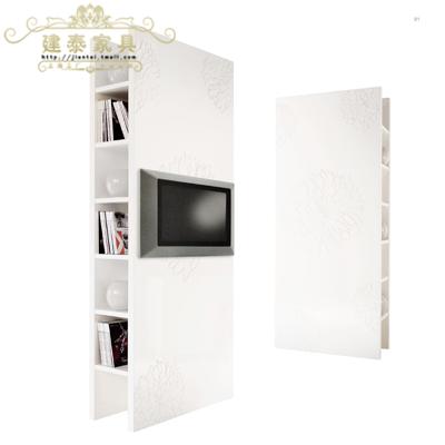 建泰后现代白色雕花书柜Z867