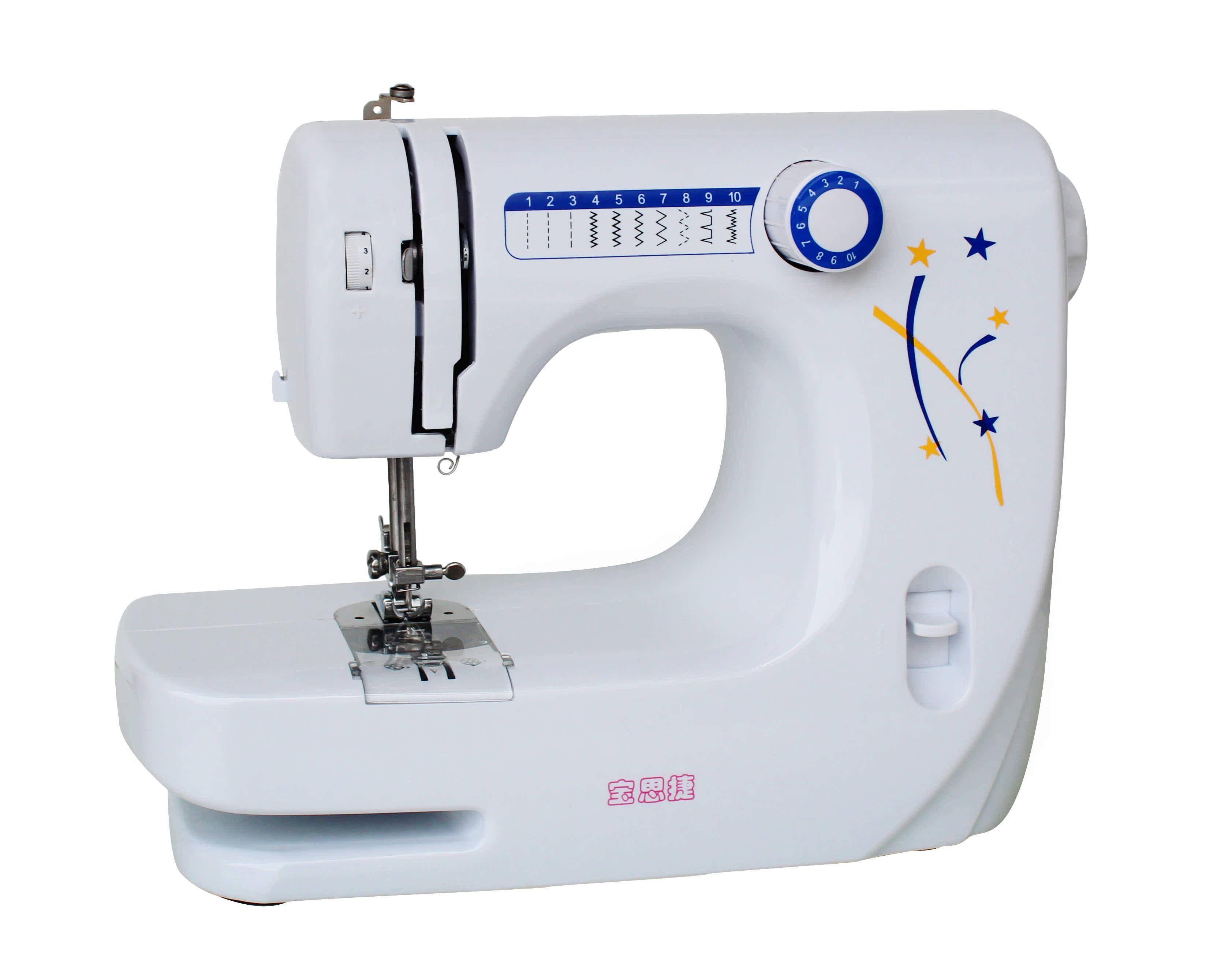 宝思捷缝纫机多功能家用缝纫机台式小型锁边双针脚踏吃厚更换压脚
