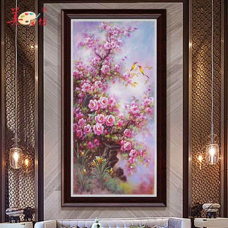美坊原创纯手绘油画新中式现代客厅过道玄关竖装饰画蔷薇花鸟风景