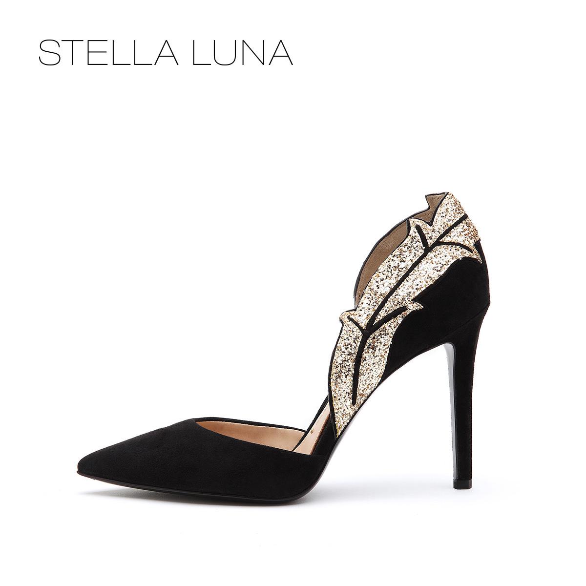 STELLA LUNA设计师款春女单鞋 金边叶子女晚宴鞋婚鞋