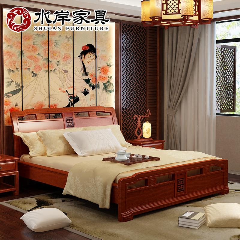 现代实木床1.8米新中式双人床箱体主卧家具卧室储物老榆木高箱床
