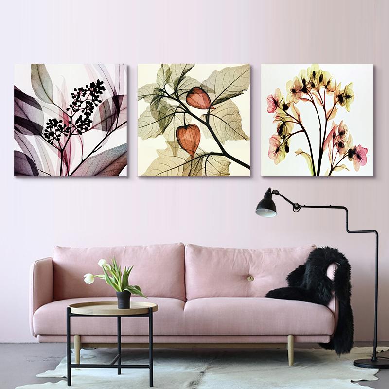壁画客厅装饰画小清新现代简约玄关三联画美式沙发背景北欧挂画图片