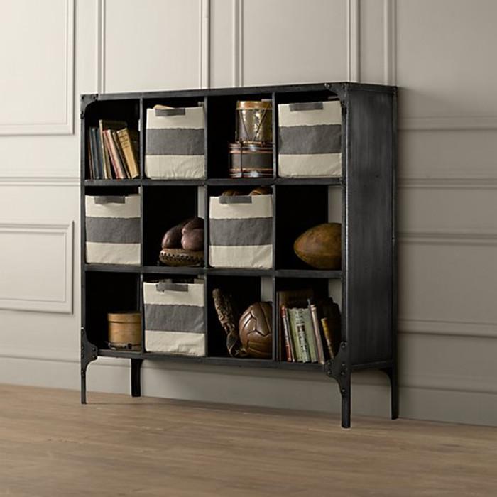 安娜西美式复古铁艺书柜