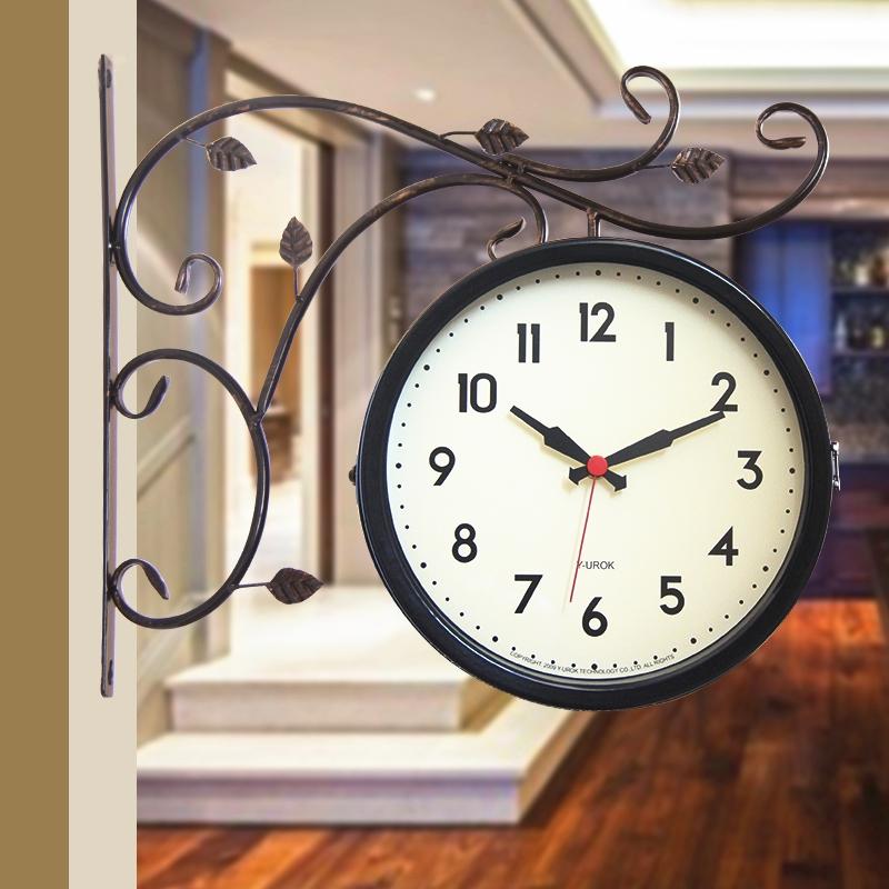 伊优诺克欧式金属复古双面壁挂钟