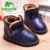 智慧象儿童雪地靴男童女童鞋加绒大童短靴子宝宝冬靴2016冬季新款