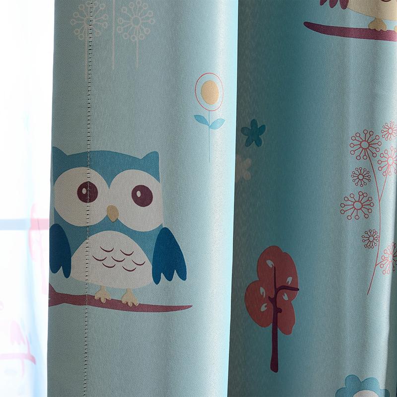 欧宝曼卡通儿童房窗帘男孩女孩可爱窗帘猫头鹰