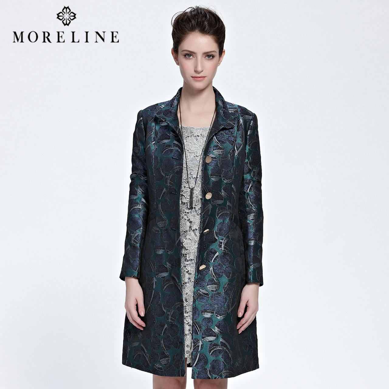 MORELINE沐兰秋季薄款复古立领时尚印花长袖风衣外套