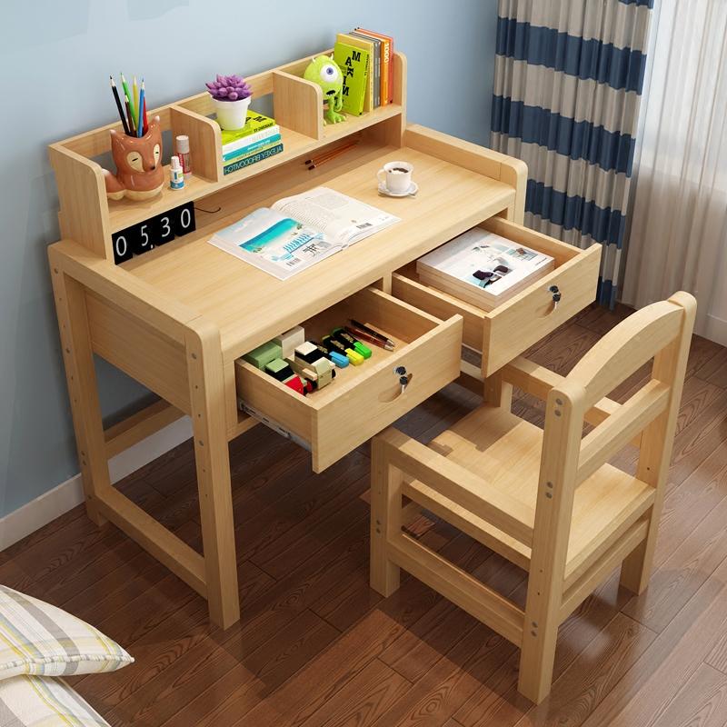 2平米 实木儿童学习桌可升降小学生松木书桌 写字桌 写字作业桌椅套装
