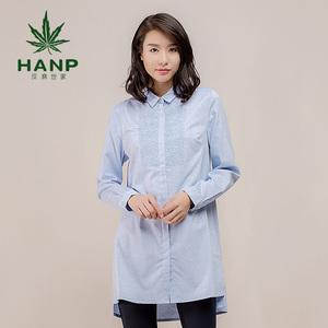 Hanp/汉麻世家 绣花休闲衬衫女 时尚衬衣女长袖衬衫长款中棉衬衫