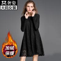 2016秋冬装新款大码女装200斤胖mm蕾丝加绒加厚长袖打底衫连衣裙