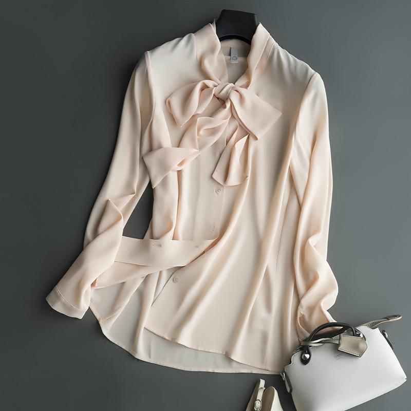 白色雪纺衬衫女长袖2018秋装新款宽松蝴蝶结衬衣女秋雪纺衫上衣