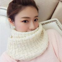秋冬新款毛线围脖女冬季韩版纯色加厚保暖针织情侣围巾学生男套头