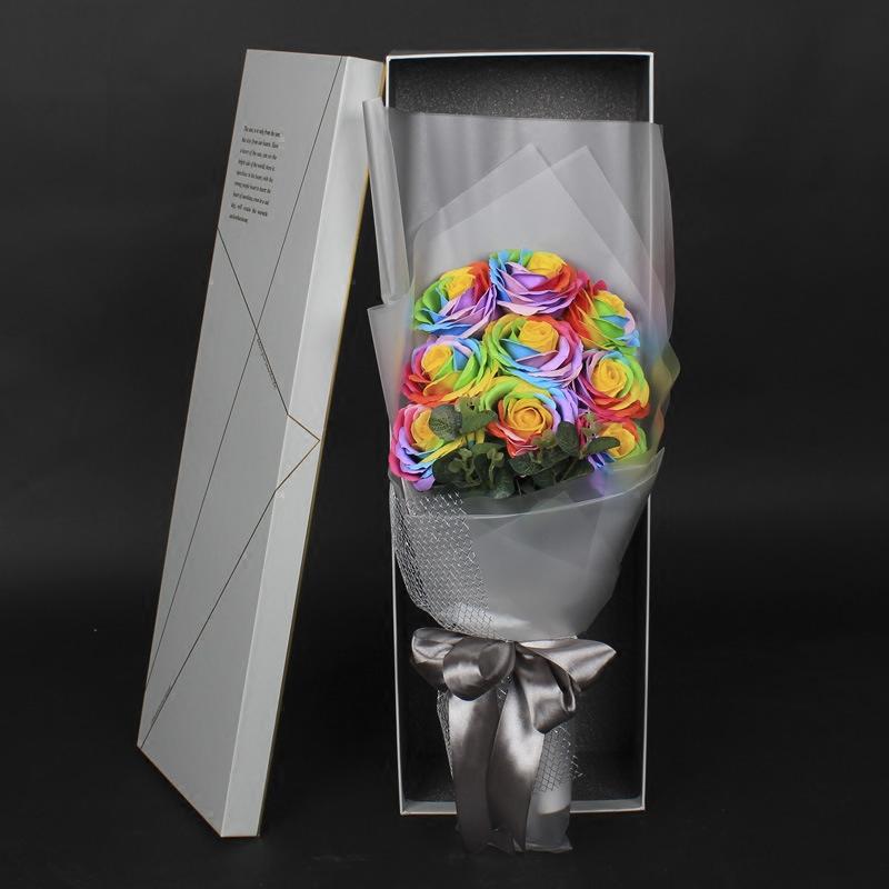 七彩香皂花情人节花束圣诞节必做 母亲节礼物 送老婆女友节日礼物