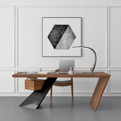 北欧电脑桌台式桌家用电脑办公桌子简约现代老板桌总裁桌实木书桌