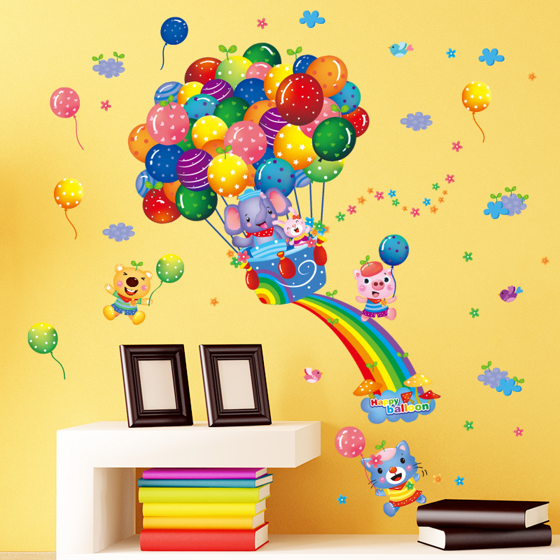 Cartoon cute color balloon wall stickers children\'s room decoration ...